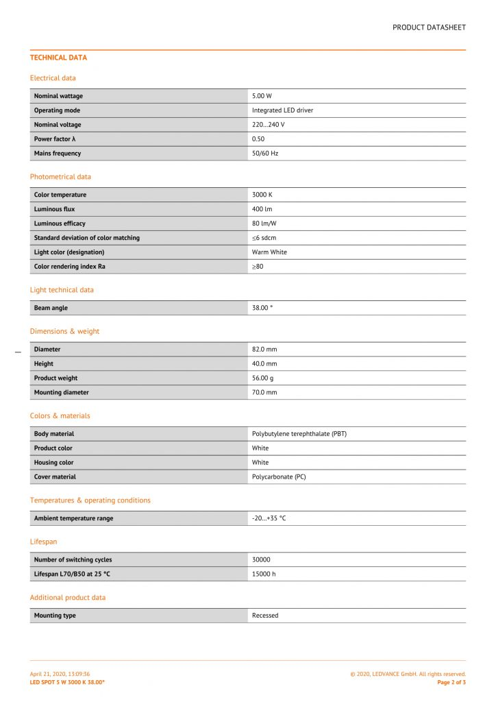 PRODUCT DATASHEET LED SPOT 5 W 3000 K 38.00°